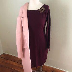 Burgundy Buckle Ralph Lauren Boatneck Body Dress